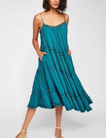 Fashion Blue Wavy Pleated Strap Dress