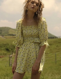 Fashion Yellow Floral Print Square Neck Puff Sleeve Waist Dress