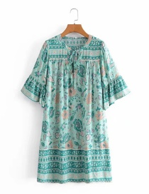 Fashion Blue Printed Wide Loose Dress