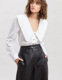 Fashion White Large Lapel Puff Sleeve Single-breasted Shirt