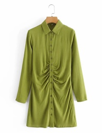 Fashion Green Single Breasted Pleated Long Sleeve Dress