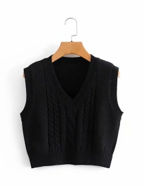 Fashion Black Twist Knit Short V-neck Vest Vest