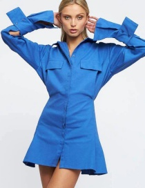 Fashion Blue Long Sleeve High Waist Shirt Dress With Big Pockets