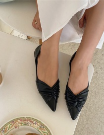 Fashion Black Flat-bottomed Hollow Ruffled Pointed-toe Pumps