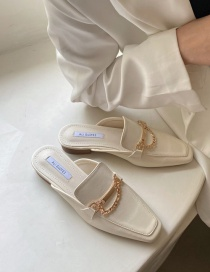 Fashion Apricot Metal Chain Low Heel Baotou Sandals And Slippers
