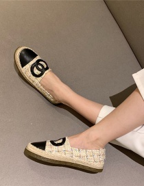 Fashion Apricot Round Toe Stitching Contrast Color Soft-soled Linen Fisherman Shoes