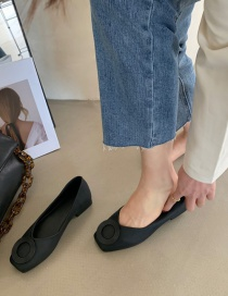 Fashion Black Soft Sole Shallow Mouth Square Toe Chunky Heel Shoes