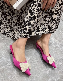 Fashion Rose Red Pointed Pearl Bow Baotou Half Slippers