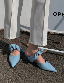 Fashion Clear Sky Blue Pointed Stiletto Half Slippers