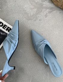 Fashion Clear Sky Blue Baotou Stiletto Pleated Half Slippers