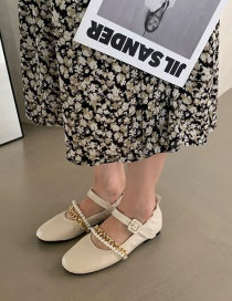 Fashion Off-white Pearl Chain Round Toe Ballet Shoes