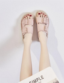 Fashion Pink Thick-soled Twine Belt Buckle Open Toe Fisherman Shoes