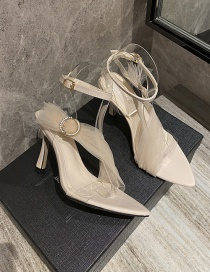 Fashion Apricot Transparent Pointed Ribbon Stiletto Sandals