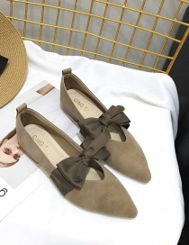 Fashion Dark Brown Bowknot Pointed Toe Chunky Heel Soft Leather Shoes
