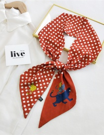 Fashion 21 Cat Wave Dot Orange Long Thin-edged Printed Letter Silk Scarf