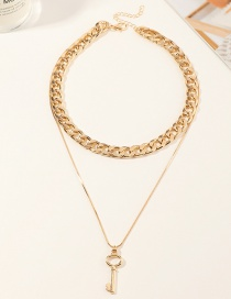Fashion Gold Color Thick Chain Metal Key Double Necklace