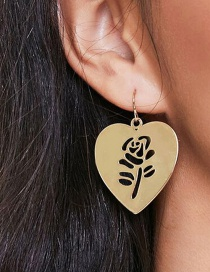 Fashion Earring Alloy Smooth Hollow Rose Peach Heart Earrings