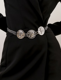 Fashion Silver Color Round Alloy Embossed Portrait Waist Chain