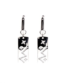 Fashion White Gold Earrings Micro Diamond Constellation Ring Square Earrings
