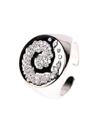 Fashion White Gold Ring Xiangyun Micro Diamond Split Ring