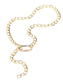 Fashion Oval Necklace Thick Chain Hollow Color Diamond Love Necklace