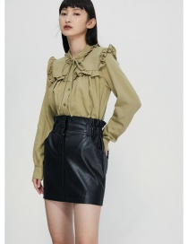 Fashion Green Wide Loose Shirt With Ruffled Neckline