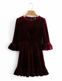 Fashion Wine Red Flared Sleeve Round Neck Velvet Dress