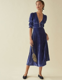 Fashion Navy V-neck Velvet Five-point Sleeve Dress