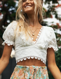Fashion White Lace Stitching Embroidered Cross Strap Top