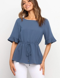 Fashion Blue Round Neck Flared Waist Tie Solid Color Top