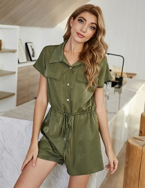 Fashion Army Green Army Green Lapel Single-breasted Tie Jumpsuit