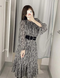 Fashion Multicolor Animal Print Belted Dress