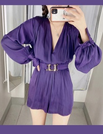 Fashion Purple Draping Long-sleeved Jumpsuit With Belt