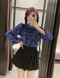 Fashion Purple Short Top With Sequins