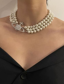 Fashion Pearl Three-layer Pearl Full Of Diamond Planet Necklace
