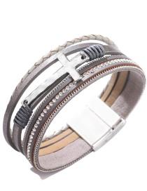 Fashion Gray Cross Braided Multi-layer Diamond Magnetic Bracelet