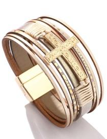Fashion Off White Cross Braided Magnetic Bracelet