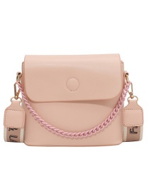 Fashion Pink Textured Broadband Crossbody Shoulder Bag