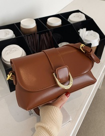 Fashion Brown Textured Crossbody One-shoulder Small Square Bag