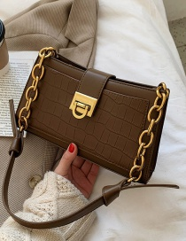 Fashion Coffee Color Chain Solid Color Shoulder Bag