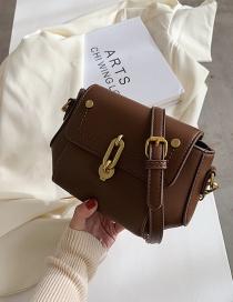 Fashion Coffee Color Chain Crossbody Shoulder Small Square Bag