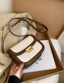 Fashion White With Brown One Shoulder Crossbody Saddle Bag