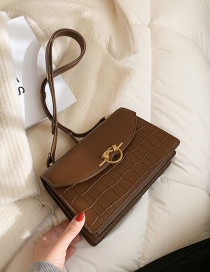 Fashion Coffee Color One-shoulder And Underarm Stone Texture Crossbody Bag