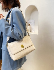 Fashion White Textured One-shoulder Soft Leather Crossbody Bag