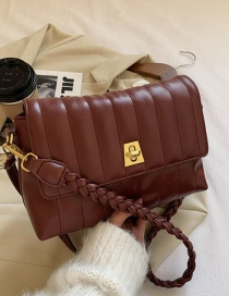 Fashion Red-brown Textured One-shoulder Soft Leather Crossbody Bag