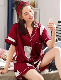 Fashion Red Rabbit Ice Silk Pajamas Thin Two-piece Suit