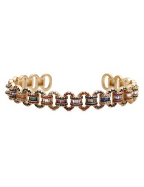 Fashion Color Open Bracelet Yh Copper Micro Inlaid Zircon Opening Adjustable Bracelet