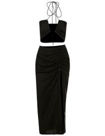 Fashion Black Halter Neck Bare Short Vest Slit Long Skirt Set