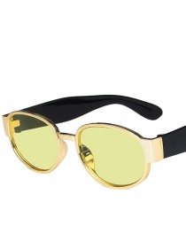 Fashion Gold Frame Yellow Film Round Frame Sunglasses