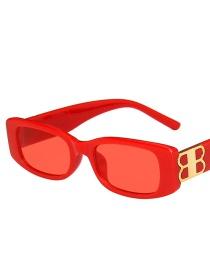 Fashion Red Frame Square Frame Sunglasses